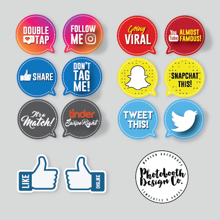 social media photobooth props bundle
