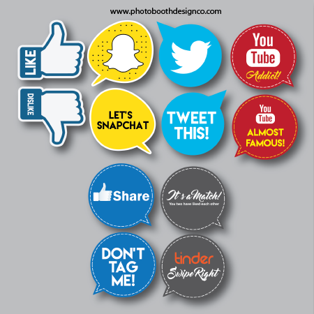 Downloadable Props Social Media Bundle Photobooth Design Co